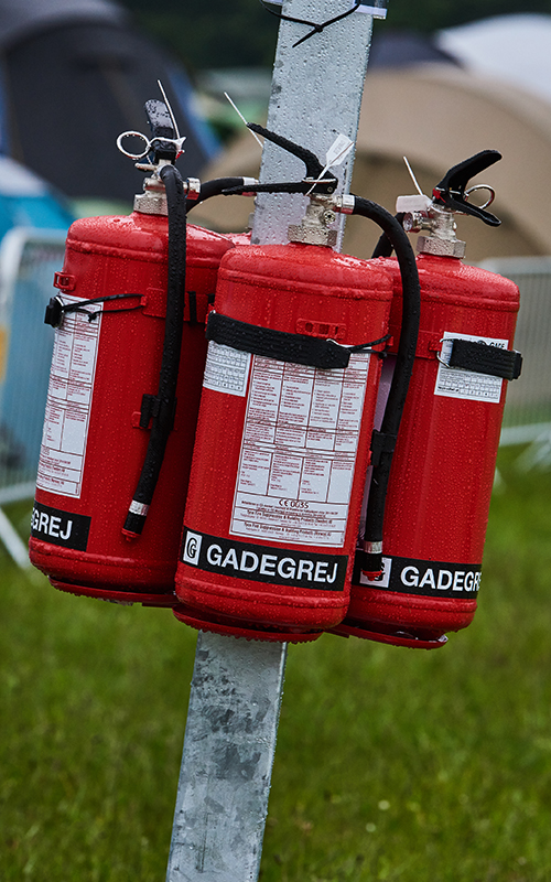 Mobile fire extinguisher stand close-up