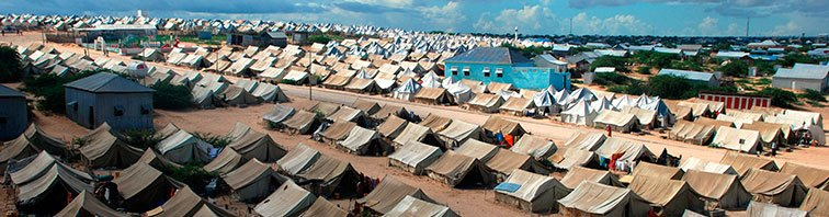 Refugee camp, aid, tents