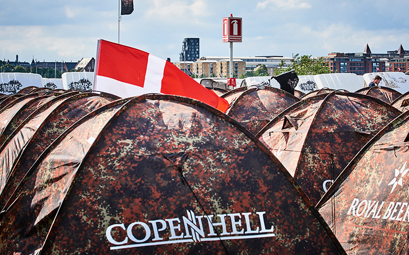 Mobile fire extinguisher stand at Copenhell camping area